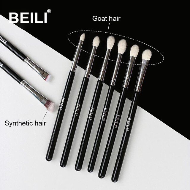 BEILI 8pcs Classic Black Pro makeup brushes Goat synthetic Hair Eye shadow Brow Blending smoky Makeup Brush Set 1