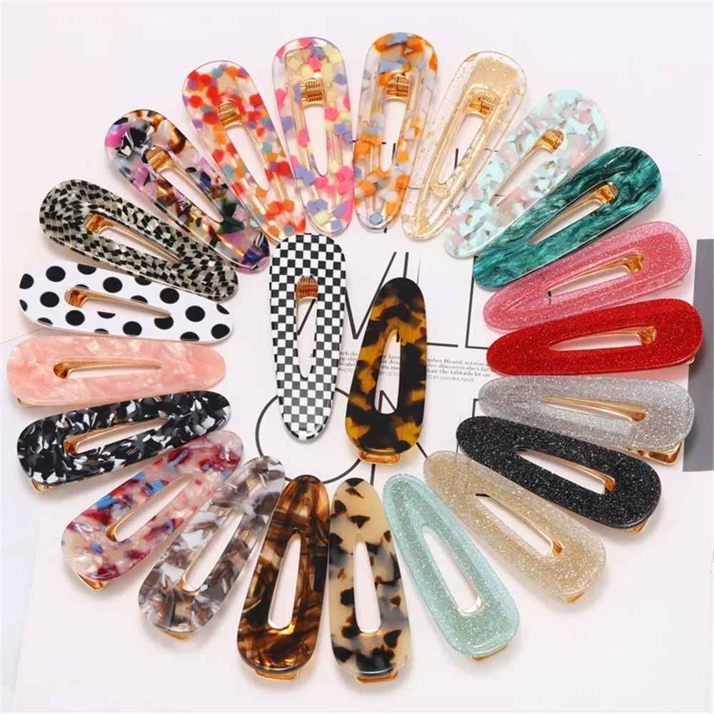 2019 New Fashion Geometric Waterdrop Shape Hair Clips Metal Gold Color Leopard Dots Hairpins for Women Hair Accessories