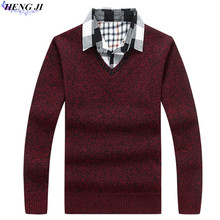 Men's fake two-piece sweater, shirt collar with thickened wool tunic, large size knitwear, winter warmth, high quality