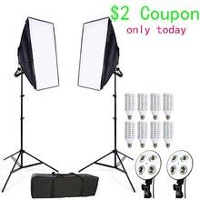 استوديو الصور سوفت بوكس كيت 8 LED 24 واط طقم الإضاءة التصوير الفوتوغرافي كاميرا وصور الملحقات 2 ضوء موقف 2 سوفت بوكس للصور الكاميرا