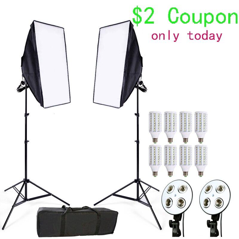 Estudio fotográfico 8 LED 24 W Softbox Kit de iluminación fotográfica Kit cámara y accesorios de Foto 2 Soporte de luz 2 softbox para cámara foto