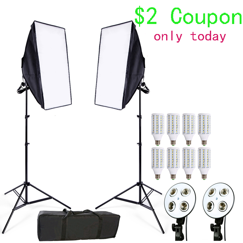 Estudio fotográfico Softbox Kit 8 LED 24 W de iluminación fotográfica Kit de cámara y accesorios de la foto 2 Soporte de Luz 2 softbox para cámara de fotos