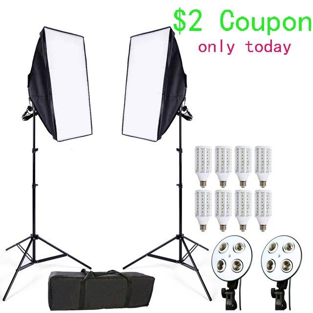 תמונה סטודיו Softbox ערכת 8 LED 24w תאורת צילום ערכת מצלמה ותמונת אביזרי 2 אור stand 2 softbox עבור מצלמה תמונה
