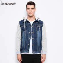 2017 New Fashion Brand Clothing Denim Jacket Men Casual Hooded Mens Coat High-quality Classic Jeans Mens Jackets And Coats M-5XL