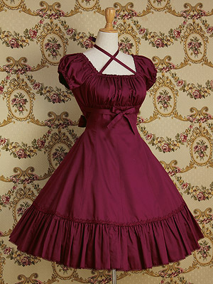 Customized 2018 Summer Square Collar Short Puff Sleeve Lolita Dresses Halloween Gothic Bow Women s clothing