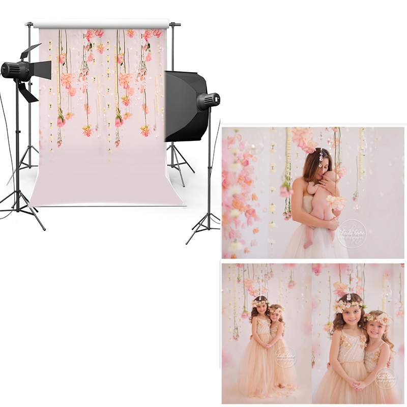 MEHOFOTO Vinyl Photography Background New Fabric Flannel Backdrop Pink Wall Floral For Children Kids Newborn Photo studio CM6714 vinyl backdrop photography lovely painting of wildflowers newborn photography background cm s 110