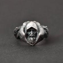 EYHIMD – Bague thème Viking pour hommes, anneau inspiré de la mythologie des pays nordiques, tête d'Odin ou corbeau, loup, en acier inoxydable, amulette scandinave