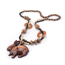 Chinese style Zodiac Rabbit Hand-carved lines DIY Beaded Pendant Necklace Fashion Jewelry for Women Birthday Gift Present