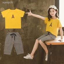 2019 New Girls Clothing Sets Summer Girl Short Sleeve T-shirt + Shorts 2pc Suits Children Clothes Kids Girl Clothing стоимость