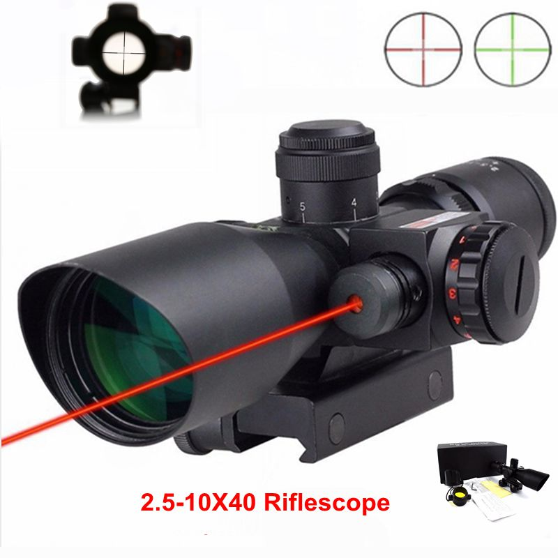 2 5 10x40 Tactical Hunting Gear Riflescope Green Red Dot Sight Outdoor Shooting Airsoft Air Guns
