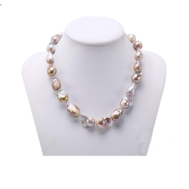 JYX Baroque Pearl Necklace 12-13.5mm Freshwater Cultured Natural Champagne Baroque Long Necklaces for party baroque