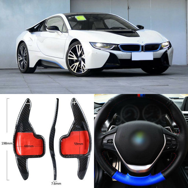 $ 103.39 Carbon Fiber Gear DSG Steering Wheel Paddle Shifter Cover Fit For BMW i8 2016-18