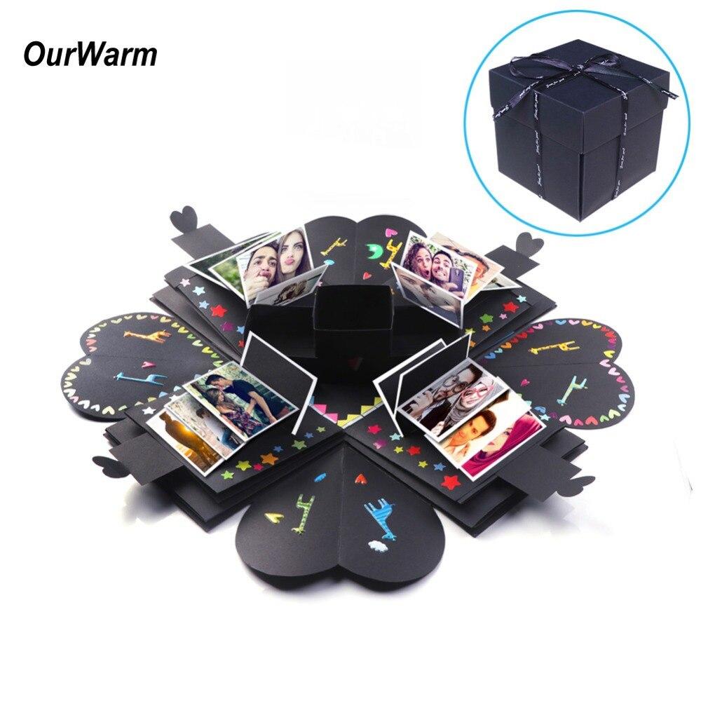 Ourwwarm caixa de surpresa foto caixa de presente preto explosão para aniversário presente do dia dos namorados presente de aniversário para as mulheres