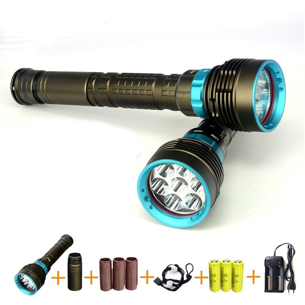 ФОТО 10000Lumen 14000Lumen XML-L2/T6 LED Diving Flashlight LED Diving Torch Lantern Waterproof 50m Diver Flash Light USE 18650/26650