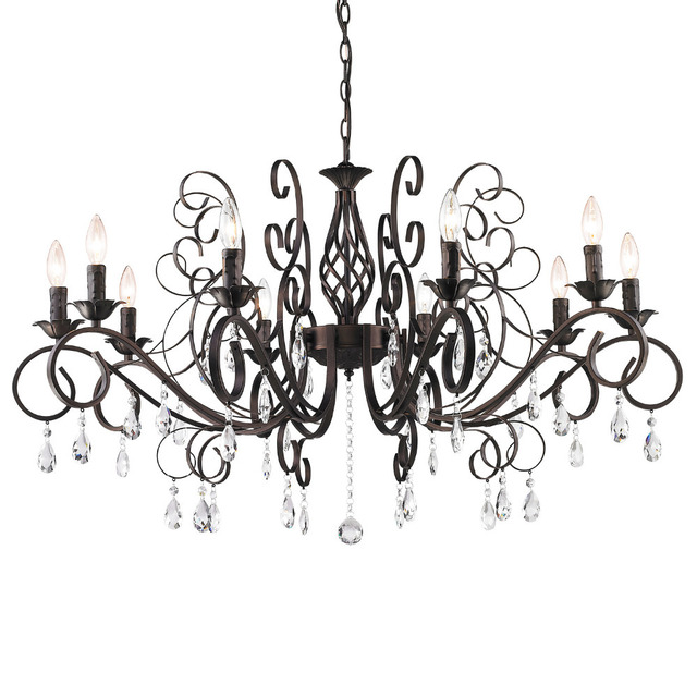 Big Luxury Wrought Iron Crystal Chandelier E12 10pcs Led Light Black Vintage Antique Pendant Lamp