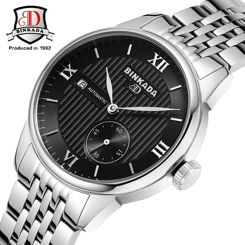 ФОТО 2017 Free Ship BINKADA Automatic Self Winding Watches Luxury Men's Mechanical Business Watch Military Watches Small Second Dial