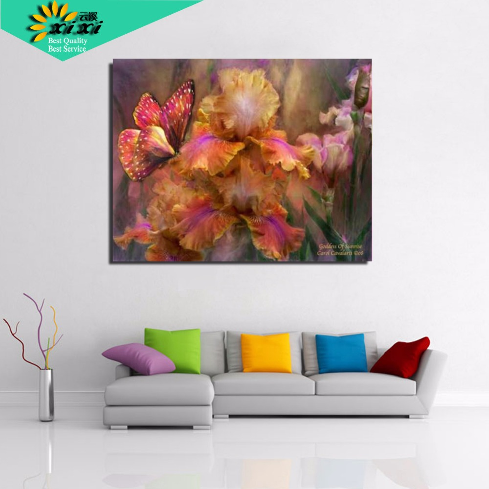 2015 Jauna sienas māksla 40X50cm DIY digitālās eļļas gleznas attēli uz audekla Tauriņš ziedu gleznas Gleznošana pēc numuriem WX09