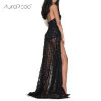 Women S Sexy Sequined Spaghetti Strap Deep V Neck Double High Split Backless Maxi Party Dress