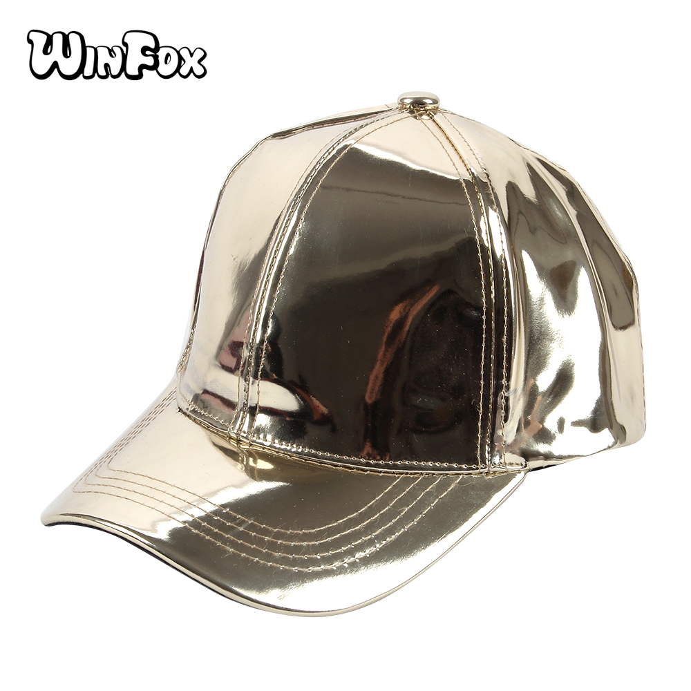 Winfox New Fashionable Women Mens Shiny Gold Color Laser Metallic Leather Baseball Caps Hats