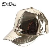 Winfox nueva moda mujeres hombres Color plata brillante metálico láser cuero  gorras de béisbol sombreros 9e629b35e6a