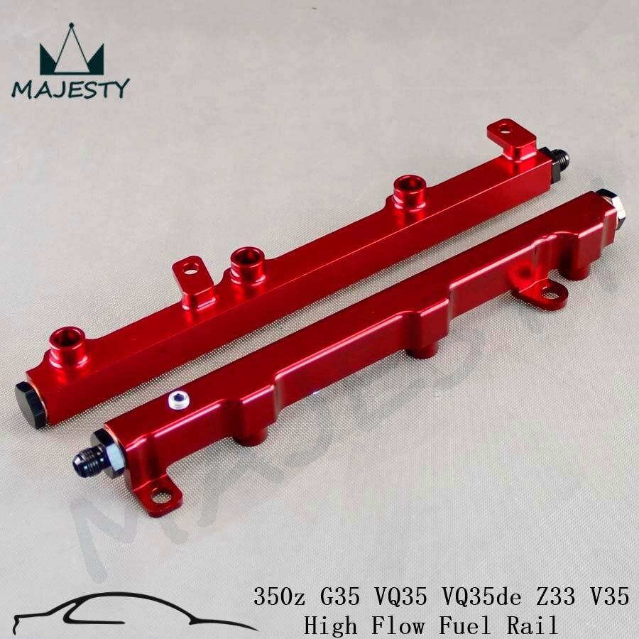 Aluminum High Flow Fuel Injector Inject Rail for 350z G35 VQ35 VQ35de Z33 V35 red