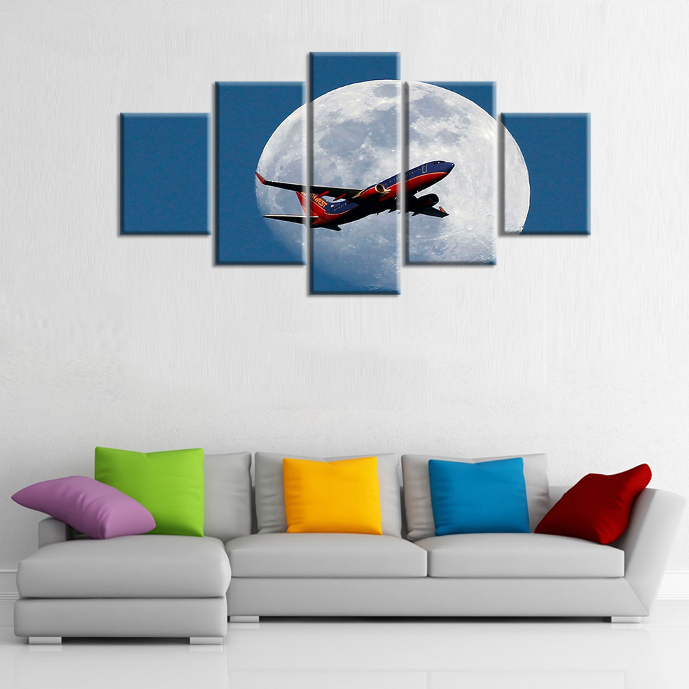 HD print 5 pieces Canvas Art Plane Moon Blue Sky Painting Living ...