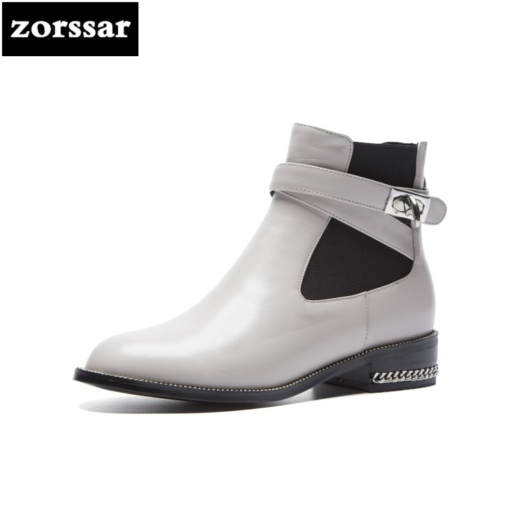 {Zorssar} Fashion buckle Female boots flat Ankle boots Genuine Leather Chelsea boots women Booties Winter botas mujer invierno zorssar winter fur female boots flat heel ankle boots genuine leather platform shoes boots women booties botas mujer invierno