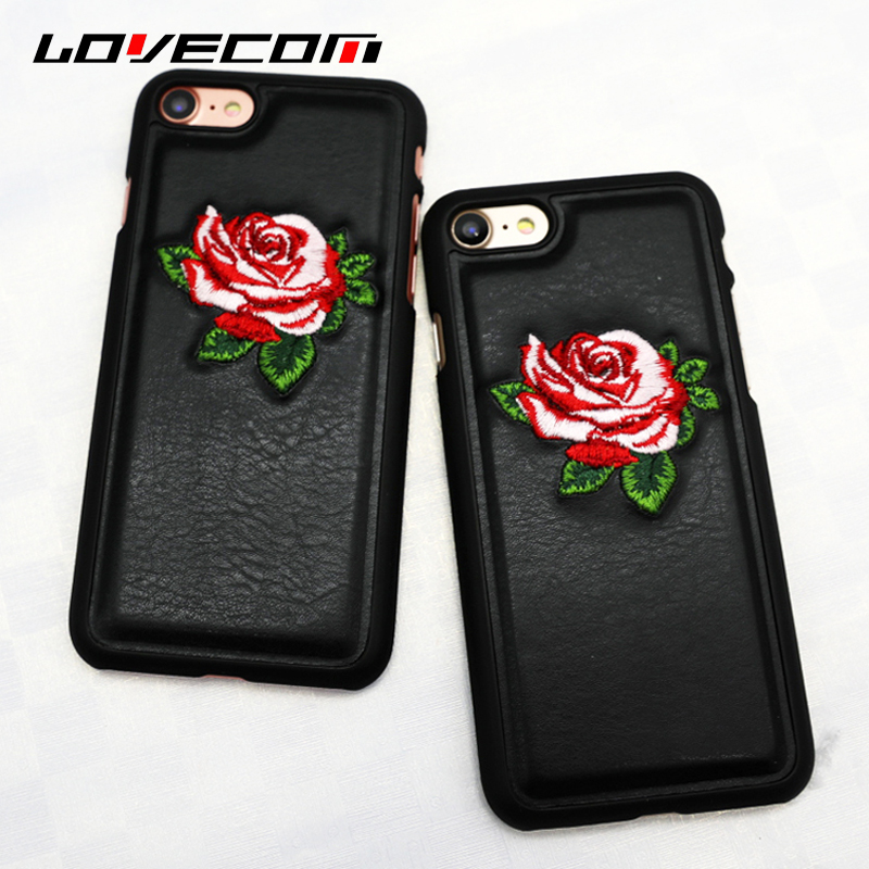 LOVECOM Embroidered Roses Phone Cases For Iphone 6 6S Plus 7 Plus Back Cover PC Hard + Genuine Leather Bags Coque Shell Capa