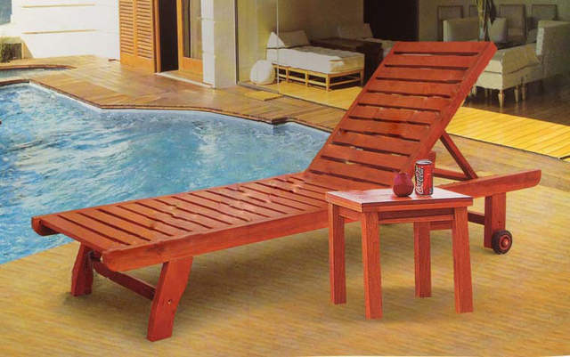 Online Outdoor Wood Chaise Pool