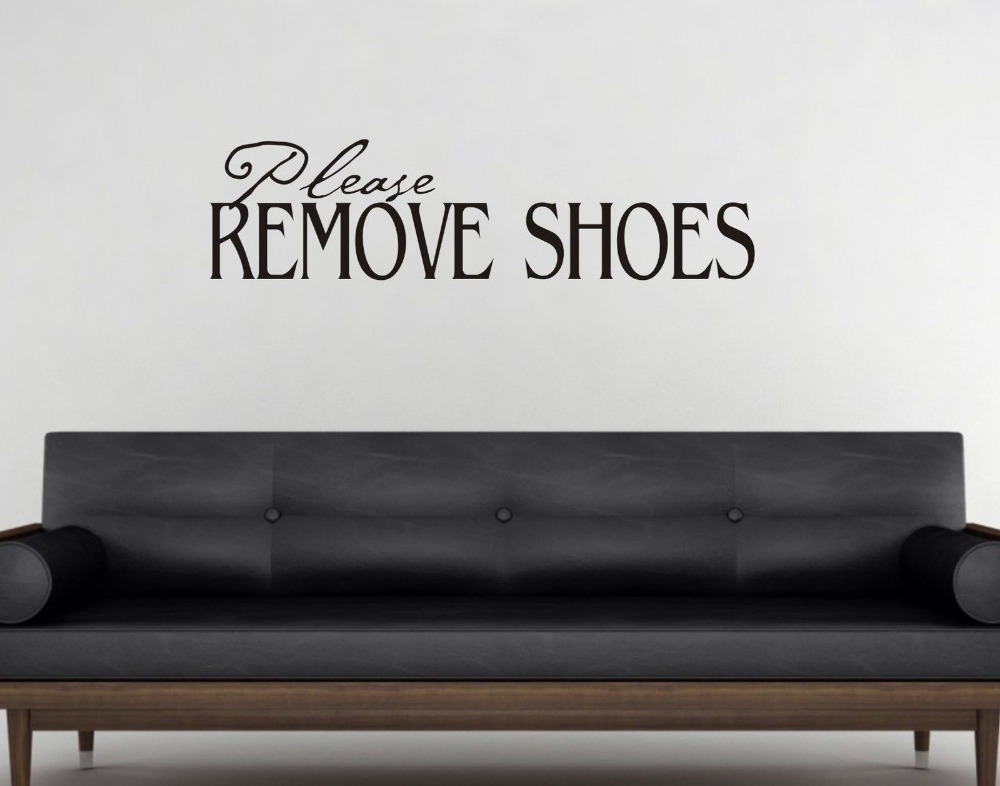 Please Remove Shoes Wall Art Sticker Quote Hallway / Bedroom / Living Room  Decoration Wall Decals 3 Sizes 40 COLORS Available In Wall Stickers From  Home ...