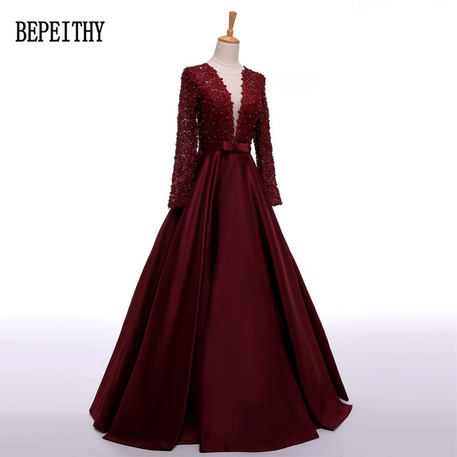 BEPEITHY Robe De Soiree Long Sleeve Burgundy Satin Evening Dress Long Vestido De Festa Longo Elegant Dresses 2018