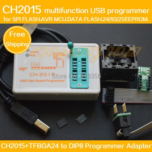SPI FLASH USB-програміст CH2015 + TFBGA24 до DIP8 адаптер BGA24 6X8MM для FLASH 25Q64 / 25Q128 eeprom / AVR / DATA FALSH програміст