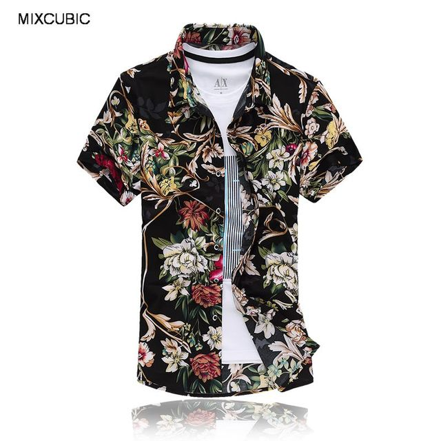 a50a4eac8f0 US $13.24 20% OFF|MIXCUBIC summer Mercerized flowers printed shirts men  black loose Floral printing Glossy short sleeved shirts men size L 7XL-in  ...