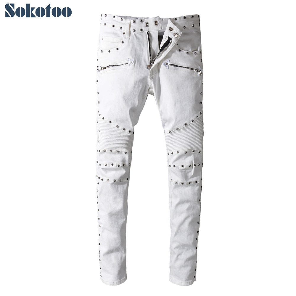 Sokotoo Men's white denim slim fit biker   jeans   for moto Casual embroidered flares rivets pants High quality