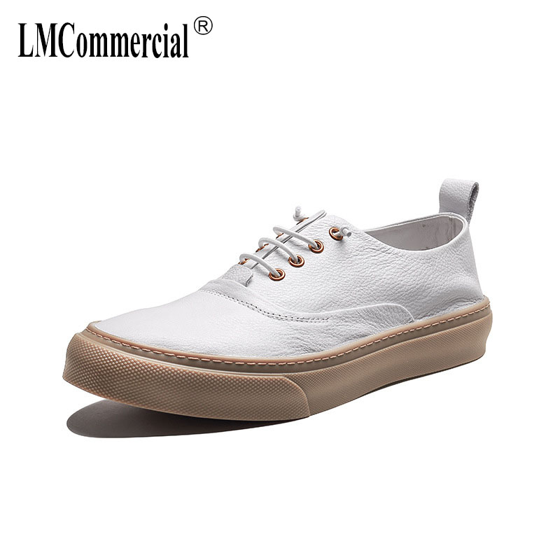 Genuine Leather breathable flat bottom fashion casual shoe men British retro cowhide sneaker boots men Leisure