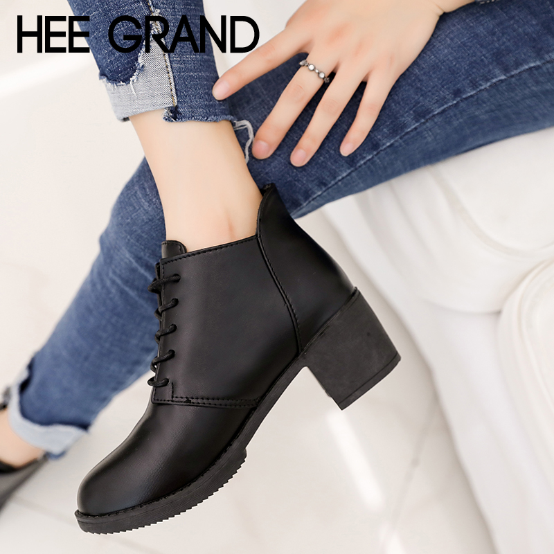 HEE GRAND Pu Patent Leather Women Boots British New Spring Square High Heel Casual Lace-Up Ladies Brogue Shoes Woman XWX6845 spring autumn women flats oxford derby brogue pu patent leather square toe lace up vintage sexy casual dress office ladies shoes