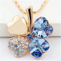 Four Leaf Clover Necklaces Pendants Crystal From Swarovski 18K Gold Plated Vintage Fashion Jewelry For Women
