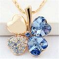 Trébol de cuatro hojas Colgantes de Los Collares de Cristal Del Corazón de Swarovski Elements Chapados En Oro de Joyería de Moda de La Vendimia Para Las Mujeres 900