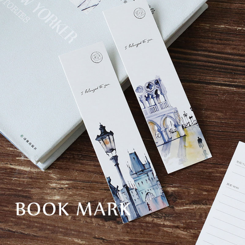 30 pcs/box World famous scenery paper bookmarks kawaii stationery book holder message card school supplies papelaria kids gifts 30pcs set flowers bookmarks message cards book notes paper page holder for books school supplies accessories stationery