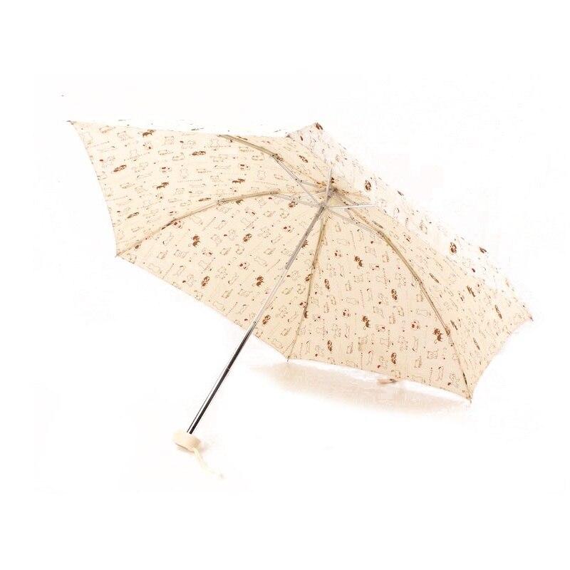 50pcs 2017 portable cute beige little cat umbrella rain women girl five folding anti uv parasol. Black Bedroom Furniture Sets. Home Design Ideas
