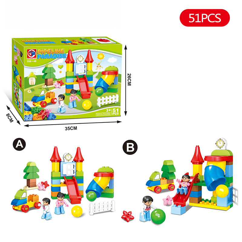 51PcsLot Happy Pipeline Construction Building Blocks Sets DIY Large Particles Bricks Model Toy Compatible with Duploe Figures