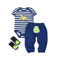 2017 Hot Sale Newborn Baby Romper Pants Socks 3pcs Set Comfortable Soft Baby Boy Infant Outfits