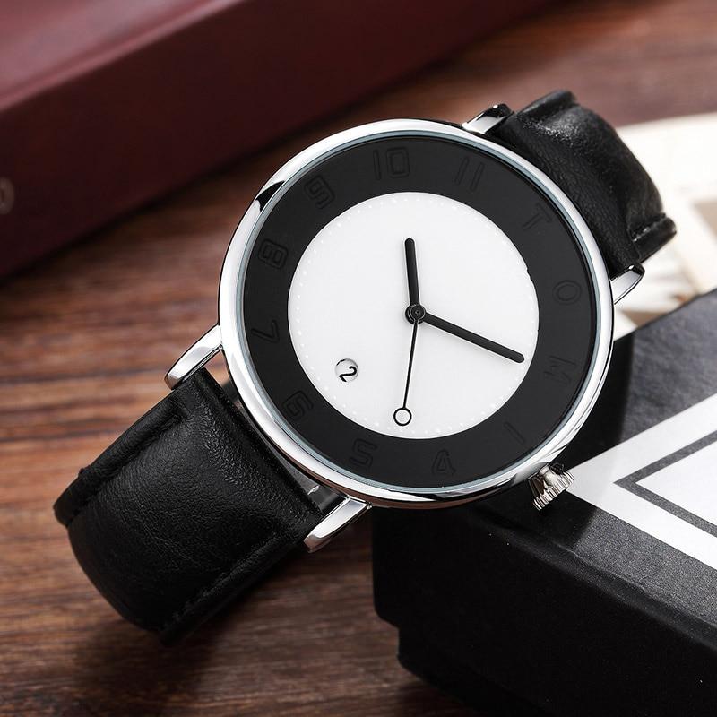 Simple Stylish Mens Minimalist Watch Creative Dial Leather Men Wrist Watch Sports Date Luxury Fashion Man Quartz-watch Gift 2018