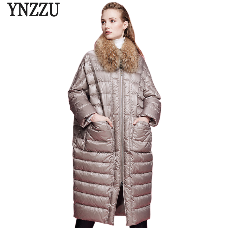 YNZZU 2017 Winter Long Women Down Jacket Brand New  Duck Down Coats Loose Female Warm Real Fur Collar Down Coat Large Size AO338