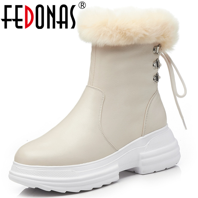 FEDONAS Fashion New Women High Heels Autumn Winter Shoes Woman Platforms Lace Up Genuine Leather Short Martin Boots Basic Boots
