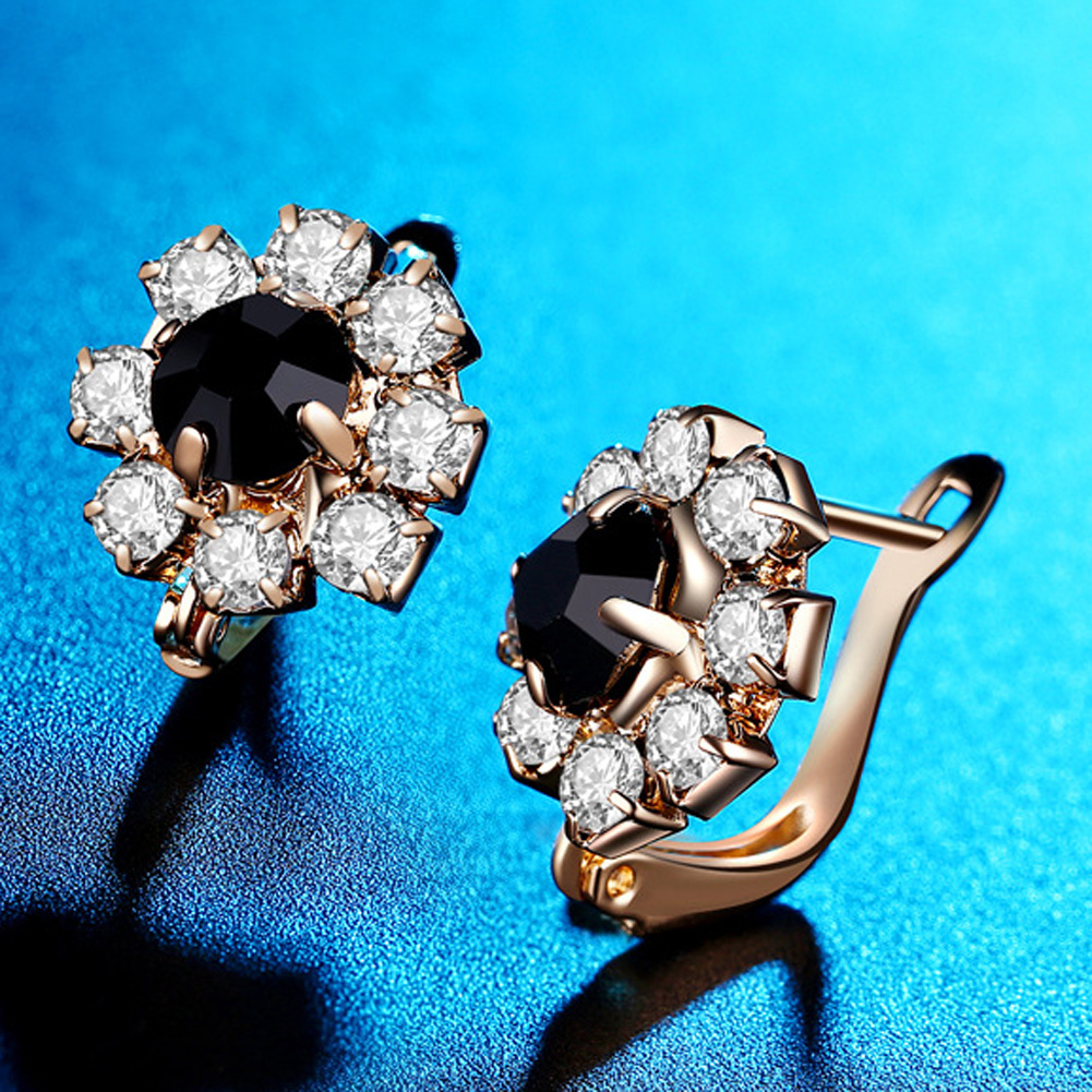 Gold Color Stud Earring CZ Vintage Black Stones Big Crystal Stud Earrings for Women Fashion Flower Jewelry