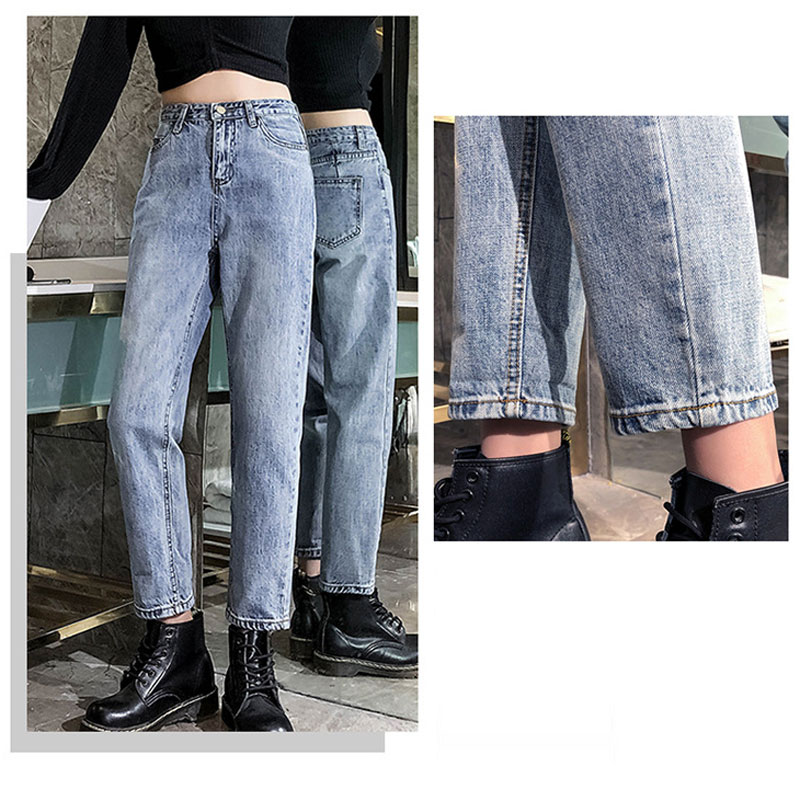 HEE GRAND Ankle-Length Old   Jeans   Women Spring 2019 Pants Plus Size 32 Summer Washed Denim Women   Jeans   High Waist Trousers WKN622