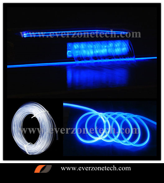 6mm solid core side glow fiber optic light cable for swimming pool