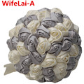 Big Discount Silver Ivory Satin Bridal Bouquets Ribbon Holding Wedding Bouquet Durable Half Ball Holding Flowers Customized W223