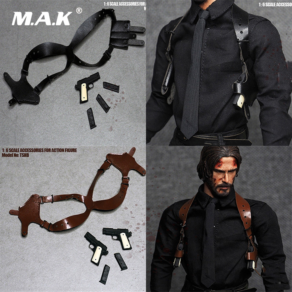 1/6 The Killer John Wick Black/Brown Essential Gear Series The Shoulder Holster Classic Pistol With Chest Gun Hanging Weapon